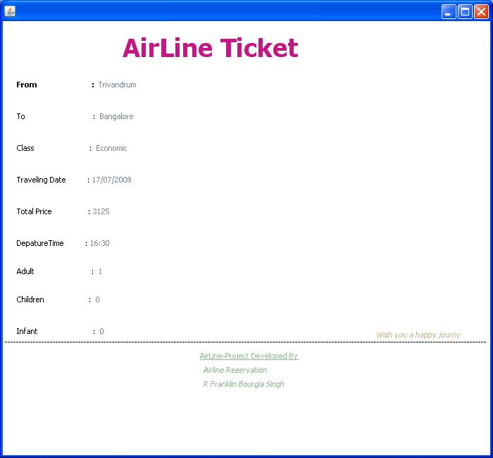 Java Project Airline Reservation